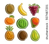 vector set colorful fruits... | Shutterstock .eps vector #507487201