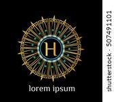 luxury letter h logo vector... | Shutterstock .eps vector #507491101