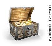 treasure chest with treasure 3d ... | Shutterstock . vector #507494554