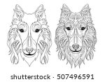 ethnic decorative doodle dog.... | Shutterstock .eps vector #507496591