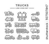 set line icons of trucks | Shutterstock .eps vector #507507847
