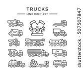 set line icons of trucks   Shutterstock .eps vector #507507847