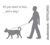 silhouette of a man walking a... | Shutterstock .eps vector #507513451