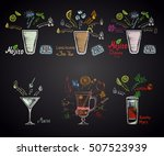 set of different cocktails ... | Shutterstock .eps vector #507523939