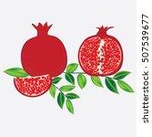 grenades dark red with ripe... | Shutterstock . vector #507539677