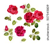 Stock photo  botanical illustration of red roses with leaves set of hand drawn watercolor elements 507545809
