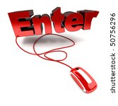3D rendering of the word enter connected to a computer mouse - stock photo