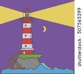 Night Lighthouse On Island...