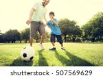 soccer football field father... | Shutterstock . vector #507569629
