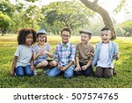 casual children cheerful cute... | Shutterstock . vector #507574765