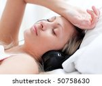 cute woman with headphones on... | Shutterstock . vector #50758630