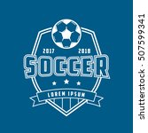 soccer emblem line icon on blue ... | Shutterstock .eps vector #507599341