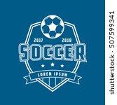 soccer emblem line icon on blue ... | Shutterstock .eps vector #507599341