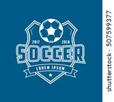 soccer emblem line icon on blue ... | Shutterstock .eps vector #507599377