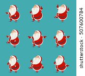 set of santa claus pointing his ... | Shutterstock .eps vector #507600784