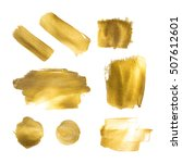 collection of golden paint... | Shutterstock .eps vector #507612601