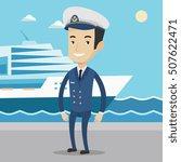 caucasian captain on the... | Shutterstock .eps vector #507622471