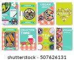 vegan vector brochure cards set.... | Shutterstock .eps vector #507626131