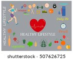 healthy lifestyle design... | Shutterstock .eps vector #507626725