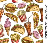 fast food seamless pattern of... | Shutterstock .eps vector #507646069