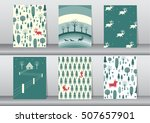 set of cute merry christmas ... | Shutterstock .eps vector #507657901