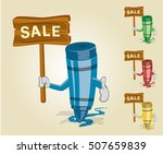 crayon sale thumb up | Shutterstock .eps vector #507659839