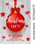 christmas party flyer with red... | Shutterstock .eps vector #507666475