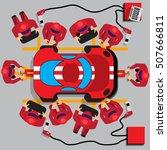 maintenance of a racing car.... | Shutterstock .eps vector #507666811