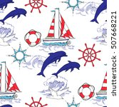 nautical seamless pattern. hand ... | Shutterstock . vector #507668221
