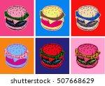 Set Burger Illustration Pop Ar...