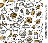 seamless pattern with different ... | Shutterstock .eps vector #507672241