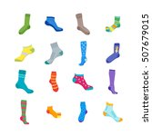 colorful fun socks set for men... | Shutterstock .eps vector #507679015