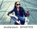 young stylish hipster woman... | Shutterstock . vector #507697555