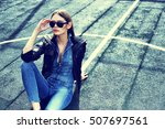 young stylish hipster woman... | Shutterstock . vector #507697561