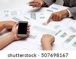 human hands of group coworkers... | Shutterstock . vector #507698167