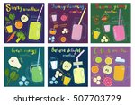 set of fruits smoothie recipes. ... | Shutterstock .eps vector #507703729