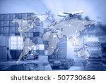 industrial container cargo... | Shutterstock . vector #507730684