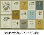floral calendar. hand drawn... | Shutterstock .eps vector #507732844