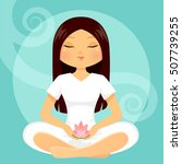 girl meditating with a lotus...   Shutterstock .eps vector #507739255