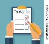 writing to do list. checking... | Shutterstock .eps vector #507740011