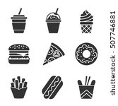 fast food vector silhouette... | Shutterstock .eps vector #507746881