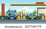 pump oil with cars and bicycles ... | Shutterstock .eps vector #507749779
