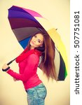 woman fashionable rainy girl in ... | Shutterstock . vector #507751081