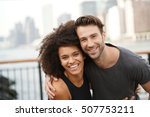couple in running outfit... | Shutterstock . vector #507753211