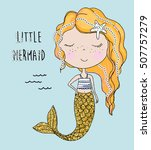 little mermaid with sequins | Shutterstock .eps vector #507757279