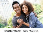 cheerful couple at central park ... | Shutterstock . vector #507759811