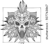 vector screaming skull face...   Shutterstock .eps vector #507763867