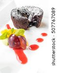 Small photo of Chocolate fondant lava cake with Icecream and fresh fruit