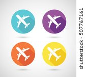 set of colors airplane icon | Shutterstock .eps vector #507767161