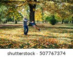 happy father and son playing in ... | Shutterstock . vector #507767374